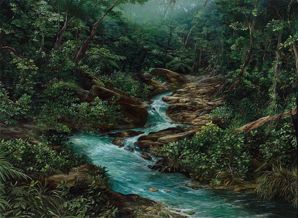 RIO EN EL BOSQUE NEBULOSO, Acrílico sobre tela / Acrylic on canvas 1.45 x 0.90 mt DISPONIBLE AVAILABE