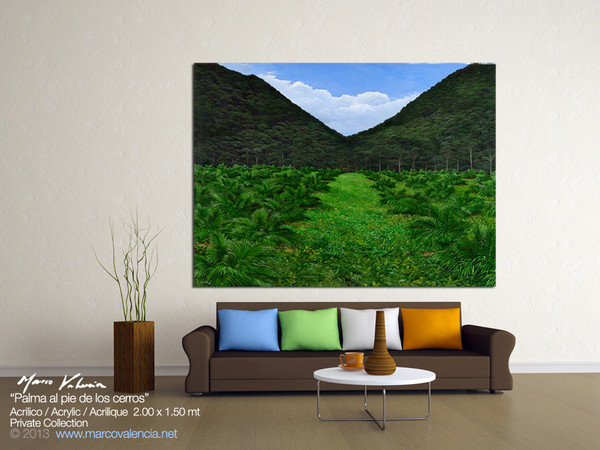 "COMMISION OF PAINTING ""PALMA AL PIE DE LOS CERROS"" FOR A PRIVATE ART COLLECTOR, GUATEMALA CITY, GUATEMALA, THE ACRYLIC PAINTING ON LINEN WAS 2.00 LENGHT X 1.50 WIDE, 78.74 LENGTH X 59 WIDE INCHES. THE COLLECTOR WAS SEARCHING A THEME FOR A PLANTATION OF TROPICAL PALMS GROWING AND SENT A PHOTO TO CREATE A COMPOSITION OF FINAL PAINTING. PLACE: GUATEMALA CITY, GUATEMALA, CENTRAL AMERICA DATE: NOVEMBER-DECEMBER 2012"