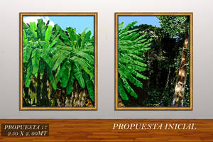"COMMISION OF PAINTING ""PLATANAR"" FOR A PRIVATE ART COLLECTOR IN LA REUNION PRIVATE GOLF CLUB, ANTIGUA GUATEMALA, GUATEMALA CENTRAL AMERICA SIZE OF PROJECT: TOTAL: 2.50 X 2.00 MTS , 98.45 X 78.74 INCHES"