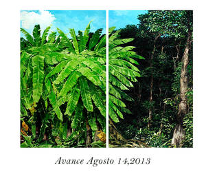 COMMISION FOR A PRIVATE ART COLLECTOR IN LA REUNION PRIVATE GOLF CLUB  SIZE OF PROJECT: TOTAL: 2.50 X 2.00 MTS  DESCRIPTION OF PROJECT: A FINE ART COLLECTOR NEEDED FOR HER CONTEMPORARY HOUSE DESIGN STYLE AN IMPRESSIONIST PAINTING OF BANANA PLANTATION DIVIDED BY TWO AND MOUNTED SEPARATED FROM EACH OTHER, THE PROPOSAL WAS SENT AND ADMMITED.  DURATION OF PROJECT: 1 1/2 MONTHS  PLACE: LA REUNION GOLF CLUB , ANTIGUA GUATEMALA, GUATEMALA CENTRAL AMERICA