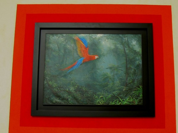 "COMMISION FOR TACA-AVIANCA MAIN LOBBY OFFICES IN SAN SALVADOR, EL SALVADOR, CENTRAL AMERICA WITH PAINTING ""EL VUELO MAGICO"" Acrylic on linen, 1.30 X 1.00 MTS, 51.18 x 39.37 inches, 2009"