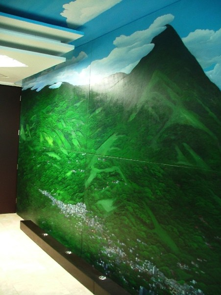 PRIVATE COMMISSIONING PROJECT FOR PAINTING-MURAL OF SAN SALVADOR VOLCANO AND MIRAMUNDO THEMES FOR A PRIVATE OFFICE AVEA INVERSIONES S.A. DE C.V. IN AVANTE TOWER, SANTA ELENA, LA LIBERTAD , EL SALVADOR.