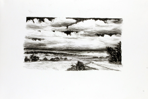 Landscape, charcoal on paper, 27 x 36 cm
